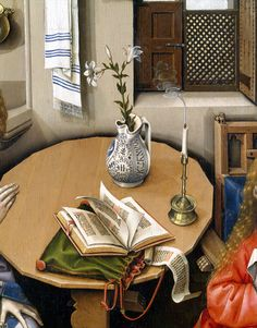 Detail of book and book bag, Annunciation Triptych (Merode Altarpiece) Artist: Workshop of Robert Campin (Netherlandish, ca. 1375–1444 Tournai) Date: ca. 1427–32  (referenced in Medieval Clothing and Textiles vol. 3)