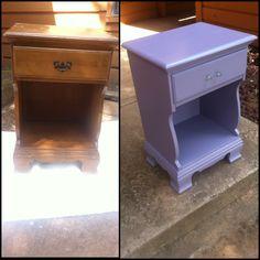 """$10 garage sale find, turned into a """"new"""" nightstand! Refurbished furniture before and after :)"""