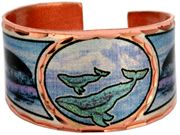 Unique handmade rings are silver plated and diamond cut on copper in this Alaskan wildlife jewelry humpback whale ring design. Whale watching is one of the major tourist attractions in Alaska.