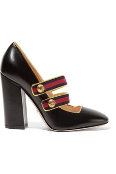 Heel measures approximately 105mm/ 4 inches Black and gold leather, red and navy canvas Slip on Made in Italy