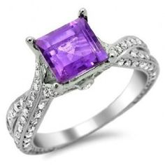 Square Cut Purple Amethyst Diamond Ring This certified Square Cut Purple Amethyst Diamond Ring is set in 14k White Gold placed in a Pave, Bezel & Prong setting that features an excellent cut Purple Amethyst center stone with 1.07 carats of White Round cut diamonds on the twist style shank. The Square Purple engagement ring comes with an SI1 in clarity & a G in color. The total gem weight is equal to 2.23 carats & the diamonds are 100% natural. #unusualengagementrings