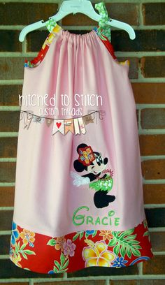 Aloha Minnie Mouse Pillowcase Sundress, Girls Dresses, Toddler Dresses, Baby Dresses, Boutique Clothing, Personalized Dresses, Minnie Mouse by HitchedtoStitch on Etsy