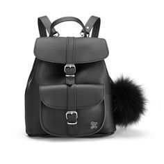 Grafea Women's Fluffy Fur Pom Backpack - Black ($280) ❤ liked on Polyvore featuring bags, backpacks, buckle backpack, fur backpack, studded backpack, roll up bag and knapsack bag