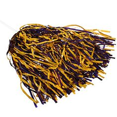 Purple and Gold pompoms for the base of the centerpieces ~ football themed wedding