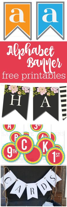 15 alphabet and number free printable banners curated by The Party Teacher | http://thepartyteacher.com/2014/04/09/freebie-friday-on-wednesday-alphabet-banners/