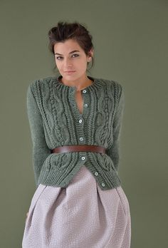 Knit this classic women's cardigan worked in bobbles and cables from Still. Designed by Kim Hargreaves using our wonderfully soft British yarn Cocoon (merino wool and kid mohair), this knitting pattern is suitable for the knitter with a little experience. Cable Cardigan, Cocoon Cardigan, Cardigan Pattern, Cable Knit, Rowan Knitting, Hand Knitting, Tricot D'art, Knitwear, Knitting Patterns
