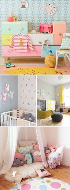 Adorable kids' room inspiration with happy pastel colors Baby Bedroom, Nursery Room, Girls Bedroom, Bedroom Decor, Childrens Bedroom, 4 Year Old Girl Bedroom, Nursery Ideas, Bedroom Ideas, Bedroom Ceiling