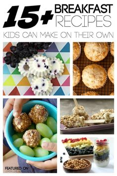 15 Breakfast Recipes Kids Can Make. Love the healthy family breakfast idea (Summer Food Kids Can Make) Recipes Kids Can Make, Kids Cooking Recipes, Cooking With Kids, Kids Meals, Cooking Pork, Lunch Recipes, Yummy Recipes, Best Breakfast Recipes, Breakfast For Kids