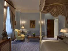 At The Lanesborough Hotel, London . This is The Lanesborough Suite Master Bedroom - Designed by world reknowned Alberto Pinto, the size of the master bedroom is 1000 sq.ft. with views over Hyde Park Corner.