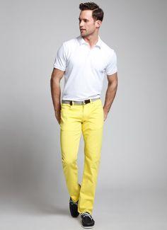 Mens Fashion Bonobos lightweight yellow denim