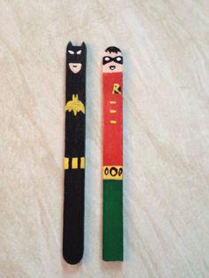 Batman and Robin craft sticks. For bookmarks or... Fun!