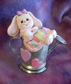 polymer clay rabbit baby shower cake topper decoration by clayqts, $24.95