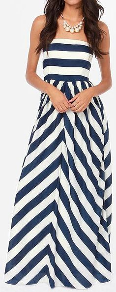 Navy Stripe Maxi // #nautical #chevron