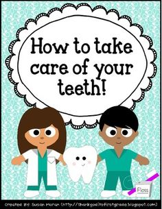 How to take care of your teeth - dental health freebies! - Oral Health Care For Good Teeth - Dental Health Dental Health Month, School Health, Oral Health, Teeth Health, Kids Health, Dental Hygiene, Dental Care, Dental Teeth, Dental Assistant