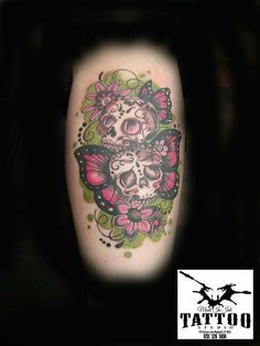 Sugar skull with butterflys
