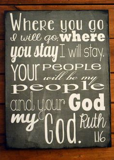 Ruth Scripture Sign in Black and White 11x14 on panel on Etsy, $20.00