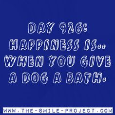 Day 926: Happiness is.. when you give a dog a bath.