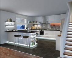 Great guidelines how you can improve the your kitchen lighting and lights with awesome kitchen lighting ideas and designs, pendant and kitchen ceiling lights Kitchen Ceiling Lights, Kitchen Lighting, Kitchen Tools, Kitchen Cabinets, Led, Cool Kitchens, Modern Kitchens, Sweet Home, Table