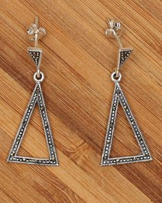 Sterling Silver Triangle Marcasite Stud by SilverLiningStr on Etsy