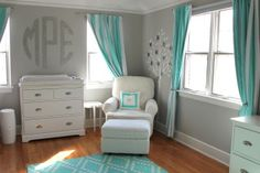 Grey, aqua, and mint, I love the color scheme, especially for boy/girl twins