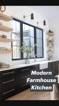 Modern Farmhouse Kitchens, Black Kitchens, Small Kitchens, Black Farmhouse Sink, Industrial Farmhouse Kitchen, Light Wood Kitchens, Modern Farmhouse Lighting, Industrial Kitchen Design, Farmhouse Kitchen Island