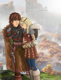 Hiccup the chief and his wife, Astrid by Auro0109.deviantart.com on @DeviantArt
