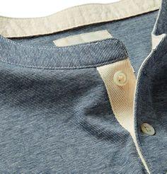 Billy Reid - Micro-Stripe Cotton-Blend Jersey Henley T-Shirt Women's Henley, Henley Shirts, Polo T Shirts, Boy Fashion, Mens Fashion, Blog Couture, Mens Trends, Kurta Designs, Lounge Wear