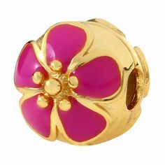 Babao Jewelry Fuchsia Sakura 925 Sterling Silver Clip Bead with 18K Gold Plated fits Pandora European Charm Bracelets