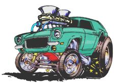 """My interpretation of my dad's Vega done in the """"rat fink"""" style of Ed """"Big Daddy"""" Roth (derived from the original artwork of Revin's """"FrankenVega"""") Cartoon Rat, Cartoon Pics, Cartoon Drawings, Weird Cars, Cool Cars, Cool Car Drawings, Cartoons Magazine, Cars Coloring Pages, Car Illustration"""