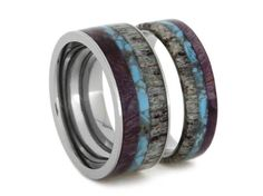 Unique Ring Set, Titanium Wedding Bands Set With Turquoise, Antler, And Purple Box Elder Burl Inlays, Couples Rings