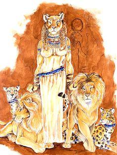 'Lady Of Cats' by Hbruton. The Mighty Goddess Sekhmet. Ancient Goddesses, Egyptian Mythology, Egyptian Goddess, Egyptian Art, Gods And Goddesses, Mythological Creatures, Mythical Creatures, Ancient Art, Ancient Egypt