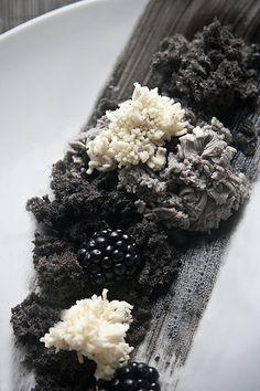 White chocolate plaquette, Black sesame cheesecake, Black sesame moss, Super soft black sesame sponge and Blackberries