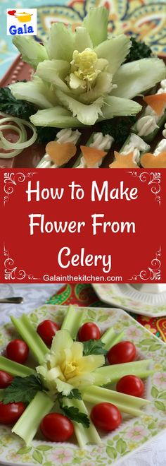 How to make a flower from celery. So easy garnish technique with step by step photos. Pineapple Health Benefits, Turmeric Health Benefits, Vegetable Platters, Veggie Tray, Fruit Platters, Best Nutrition Food, Health And Nutrition, Health Tips, Benefits Of Eating Avocado