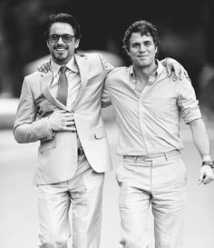 Robert Downey Jr. and Mark Ruffalo. So handsome. I would like them both for Christmas, you have damn near 11 months, Santa! ;)
