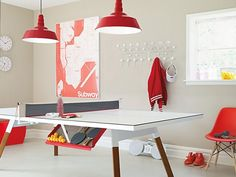 A fun dining table that doubles as a ping pong table.