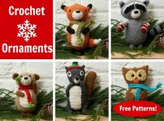 Winter Wildlife: Free Crochet Ornament Patterns: Fox, Raccoon, bear, squirrel, owl, - Red Heart Yarns and CraftFoxes