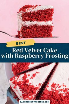 Get ready to impress with this delicious red velvet cake with raspberry frosting. This two layered cake is perfect for any occasion! Easy Cake Recipes, Frosting Recipes, Easy Desserts, Delicious Desserts, Dessert Recipes, Tasty Chocolate Cake, Chocolate Flavors, Raspberry Cream Cheese Frosting, Best Red Velvet Cake