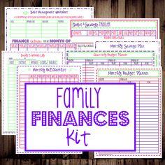 Family Finances Kit- budget & bill organization, debt & savings trackers