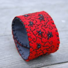 Red & Black embroidered felt bracelet / cuff