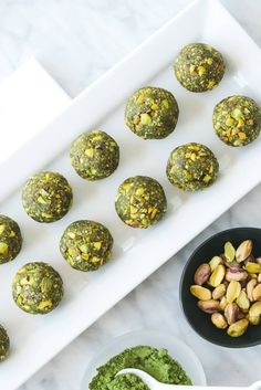ENERGY BITES Made from matcha green tea, these energy balls are refined sugar free and the perfect sweet, healthy snack. One or two will satisfy your hunger and sweet tooth in one fell swoop. Green balls of bliss + matcha happy dance=the perfect treat. Healthy Recipes, Healthy Sweets, Raw Food Recipes, Healthy Snacks, Snack Recipes, Breakfast Healthy, Breakfast Ideas, Smoothie Recipes, Energy Snacks