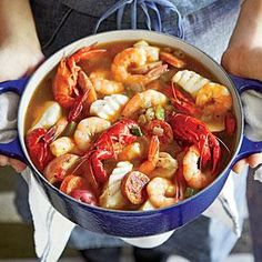 Gulf Coast Seafood Stew Recipe - - Hurricane Katrina and a subsequent oil spill off the coast of Louisiana renewed appreciation for our region's seafood. This stew shows off its incomparable flavors,. Fish Recipes, Seafood Recipes, Dinner Recipes, Cooking Recipes, Healthy Recipes, Chowder Recipes, Keto Recipes, Seafood Stew, Fish And Seafood