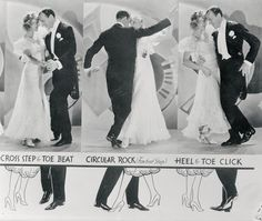 A diagram under dancers Fred Astaire and Ginger Rogers describe how to do the carioca a dance the two perform in the movie Flying Down to Rio