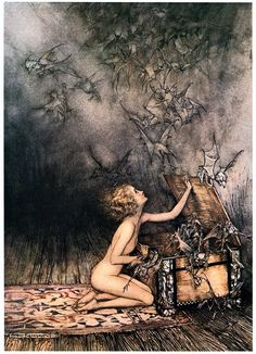 Pandora. Illustration by Arthur Rackham (1867-1939) who is widely regarded as…