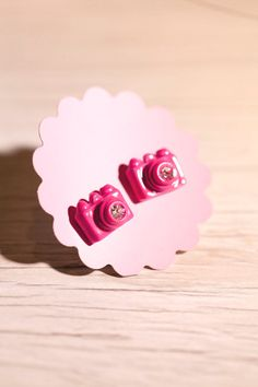 Tiny Pink Camera stud Earrings