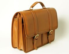 Briefcase with two front pockets - Tan - In stock - Side View