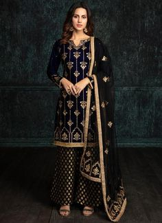 Navy Blue and Black Velvet Palazzo Suit features a velvet kameez, brocade bottom and net dupatta. Embroidery work is completed with zari and stone work embellishments. Pakistani Bridal Dresses, Pakistani Dress Design, Pakistani Outfits, Indian Dresses, Indian Party Wear, Indian Wedding Outfits, Indian Outfits, Indian Wear, Embroidery Suits Design