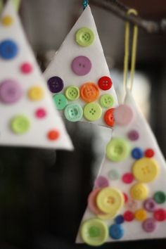 Styrofoam Button Ornaments - happy hooligans (easy, fine-motor Christmas craft for toddlers)