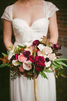 burgundy wedding bouquet - photo by Britt Taylor Photography http://ruffledblog.com/rich-toned-wedding-ideas-in-northern-california