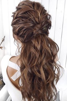 33 Oh So Perfect Curly Wedding Hairstyles ❤ curly wedding hairstyles brown lon. - 33 Oh So Perfect Curly Wedding Hairstyles ❤ curly wedding hairstyles brown long half up half down - Wedding Hairstyles For Long Hair, Wedding Hair And Makeup, Bride Hairstyles, Straight Hairstyles, Bridal Hair, Hair Makeup, Brown Wedding Hair, Bridesmaid Hairstyles, Medium Hair Styles