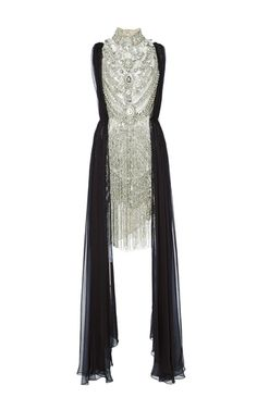Antique Silver Jeweled Necklace Cocktail Dress by MARCHESA for Preorder on Moda Operandi